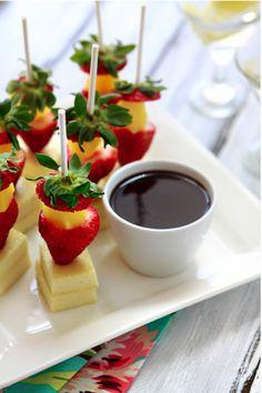 brochettes de fruits à tremper dans chocolat