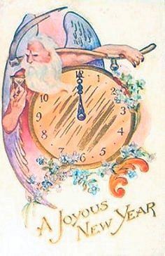 . New Year Wishes, New Year Greetings, New Year Card, Old Christmas, Christmas And New Year, Christmas Cards, Nostalgic Songs, Vintage Happy New Year, Father Time