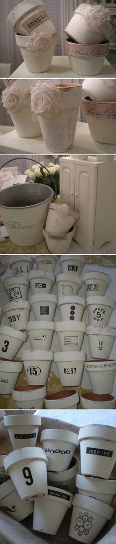 DIY FLOWER POTS :: White chalk painted terra cotta pots (using ASCP) w/ burlap decoupaged on some & others with rub on transfers to embellish them. #Flowerpots