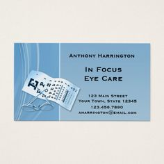 313 best optometrist business cards images on pinterest business modern blue optometrist business card colourmoves