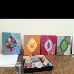 DIY canvas painting - to match hand painted table :)