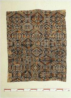 """The tapestry from Kyrkås old church, Jämtland, Sweden. C14-dated to 990-1160.  """"Kyrkåsvävnaden är ovanligt bred och utgör ett kvadratiskt täcke på drygt ca 1x1 m. Materialet är ull samt lin och färgerna går i rött, blått och grågrönt. Täcket påminner mycket om Överhogdalsbonad IV och består liksom denna av oktogonala fält med geometriska ornament; skepp, fyrfota djur med bakåtvänt huvud och fåglar vid träd. Täcket har använts som antependium i Kyrkås gamla kyrka."""""""