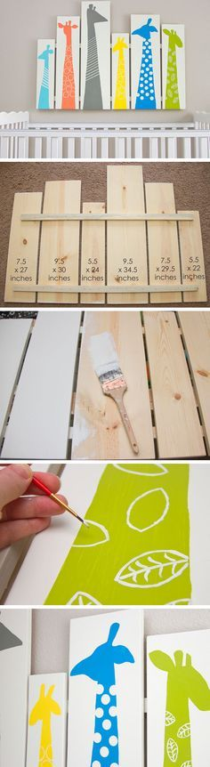 Giraffe Nursery Wall Art | Click for 25 DIY Nursery Decor Ideas | Toddler Boy Room Decor Ideas
