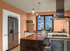 Peach Kitchen traditional u-shaped peach kitchen, white cabinets, sylvie meehan