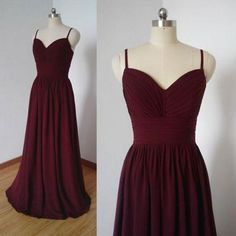 Grape Chiffon Bridesmaid Dress with Spaghetti Strap,Long Dress for Bri - SheerGirl