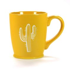 Cactus Mug (Retired) Pottery Painting Designs, Paint Designs, Yellow Cups, Cute Desk, Buy Cactus, Cute Coffee Mugs, Flamingo Party, Things To Buy, Stuff To Buy