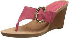 Nine West Women's Elizabell Wedge Sandal,Orange Nubuck,7 M US