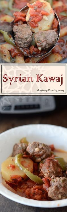 Syrian Kufta (Kawaj) is a a potato, tomato & minced meat bake, an easy weeknight dinner but this time it gets even easier with the slow cooker. Middle Eastern Dishes, Middle Eastern Recipes, Pasta Dishes, Food Dishes, Mince Dishes, Crock Pot Meatballs, Easy Weeknight Dinners, Mediterranean Recipes, Vegetable Dishes