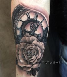 Clock and rose tattoo  Email TatuBabyTattoo@gmail.com for appointments