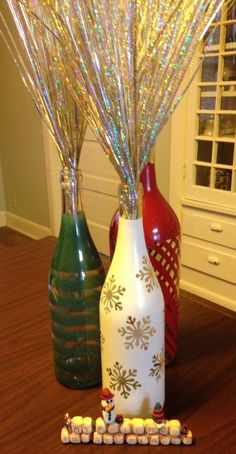 Christmas painted wine bottles.
