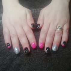 Pink, silver and black