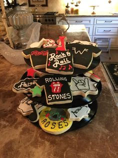 Create your own cookie trays from old records. I bought records at the thrift store and 3 tier stand fitting hardware on amazon and made my own cookie stands.