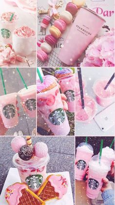 Pink with Starbucks Bebidas Do Starbucks, Starbucks Secret Menu Drinks, Starbucks Recipes, Beer Recipes, Drink Recipes, Kefir, Bolo Tumblr, Starbucks Wallpaper, Kreative Desserts