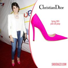 Dior-pink-silk-satin-pump-Nikki-Reed