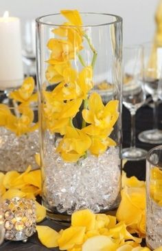 Yellow Wedding Centerpiece Ideas   Buy 2 Cylinder Vases Put Flowers In  Bottom One Glue Another Vase On Top U0026 Put Beads * Flowers. Could Put Mirror  Inbetween ...