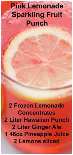 This delicious and sweet Pink Lemonade Sparkling Fruit Punch reci. - This delicious and sweet Pink Lemonade Sparkling Fruit Punch recipe is perfect for f - Fruit Drinks, Smoothie Drinks, Healthy Drinks, Smoothies, Alcoholic Drinks, Healthy Food, Fireball Drinks, Fruit Fruit, Refreshing Drinks