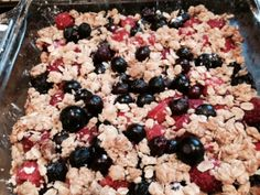 This is what we call A Scrumble at my house: http://smittenkitchen.com/blog/2014/05/strawberry-rhubarb-crisp-bars/ I made mine with Blue- and Rasp- berries; delicious and surprisingly healthy!