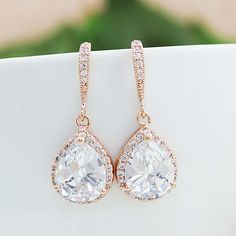 LUX Rose Gold clear white cubic zirconia Crystal tear drop Bridal Earrings - Earrings Nation
