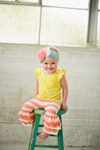 Taylor Joelle Designs Coral and White Striped Ruffle Leggings
