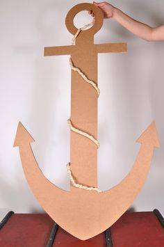 A real anchor can also be made of cardboard, on a pirate birthday! - A real anchor can also be made of cardboard, on a pirate birthday! A real anchor ca - Deco Pirate, Pirate Day, Pirate Birthday, Pirate Theme, Anchor Birthday, Pirate Crafts, Vbs Crafts, Crafts For Kids, Under The Sea Theme