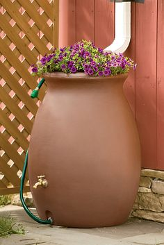 rain catcher urn, 50 gallon - I'm seriously thinking about getting one of these - especially if the city of dallas goes one step farther in water rationing Rain Water Barrel, Rain Barrels, Rain Barrel System, Rain Catcher, Water Collection, Rain Collection Barrel, Rainwater Harvesting, Terrariums, Container Gardening
