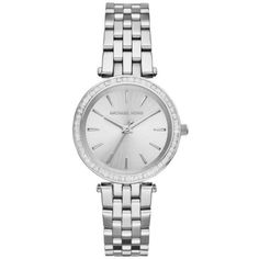 Michael Kors Silver Stainless Steel Mini Darci Watch - Women's ($188) ❤ liked on Polyvore featuring jewelry, watches, silver, silver jewellery, michael kors, stainless steel watches, silver wrist watch and stainless steel jewelry