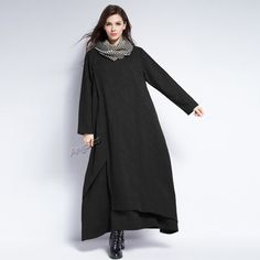Anysize jacquard weave soft linen&cotton dress plus size dress