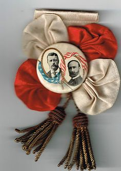 1904 Teddy Roosevelt Pinback and Silk Bow Ribbon No Minimum or Reserve | eBay