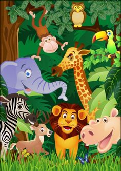 Funny cartoon animals vector clip art and images Cartoon Jungle Animals, Zoo Animals, Happy Zoo, Photo Wall Stickers, Of Wallpaper, Normal Wallpaper, Wallpaper Paste, Cartoon Drawings, Cartoon Clip