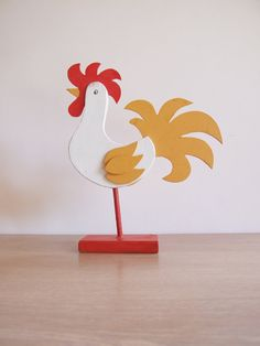 Folk Art Sweden Rooster // Bird 70s by tiendanordica on Etsy