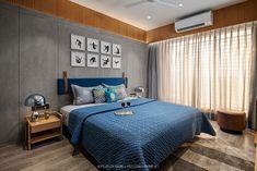 Inspiring contemporary apartment located in Surat, India, designed in 2019 by aplus DESIGN. Indian Bedroom Design, Hotel Bedroom Design, Bedroom Wall Designs, Modern Bedroom Design, Bedroom Layouts, Home Room Design, Master Bedroom Design, Bedroom Decor, Flat Interior Design