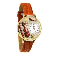 Whimsical Watches Unisex G0510002 Violin Tan Leather Watch - http://www.artistic-watches.com/2017/02/17/whimsical-watches-unisex-g0510002-violin-tan-leather-watch/