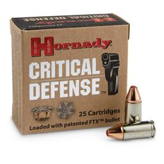Hornady Critical Defense, 9mm Luger, FTX, 115 Grain, 25 Rounds