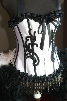 White & Black Burlesque Showgirl Corset Costume $185