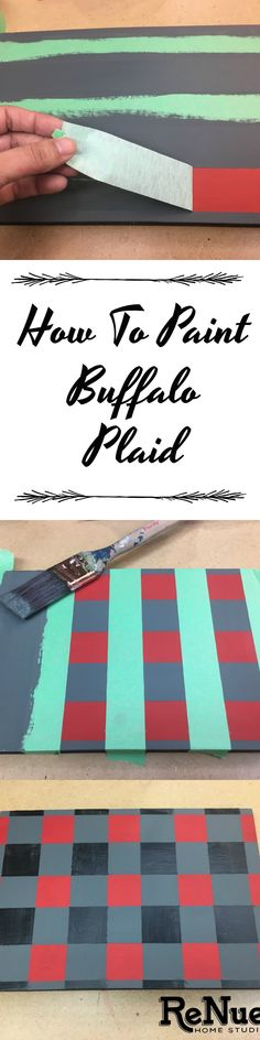 Learn how to paint Buffalo Plaid.  Buffalo Check, Buffalo Pattern, Christmas Decor, Handmade Tray, Handmade Sign, Signs, Easter, Valentine's Day, Easter, Pastel, DIY, Do It Yourself, HGTV, Painters Tape, Red Black Check, Brush