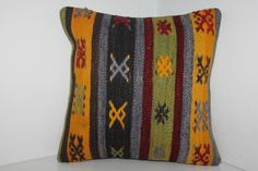 Antique Turkish Kilim Pillow Cover Cushion Cover 16 x by SARIKAYA