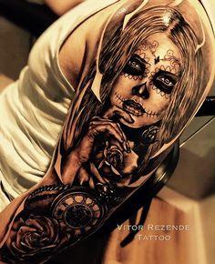 Sleeve Tattoos for Women Best Tattoo Sleeve Ideas For Women Fantastic Half and Full Sleeve Tattoos for Women images Ideas Designs for Girls 2019 2020 Tattoo Girls, Girl Face Tattoo, Girls With Sleeve Tattoos, Best Sleeve Tattoos, Girl Tattoos, Sugar Skull Mädchen, Sugar Skull Girl Tattoo, Skull Rose Tattoos, Body Art Tattoos