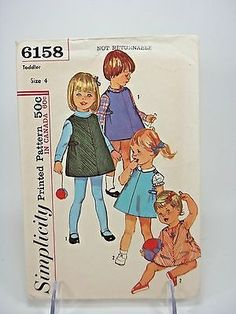 Vintage-1965-Simplicity-Sewing-Pattern-6158-Toddler-size-4-Jumper-and-Blouse-Cut