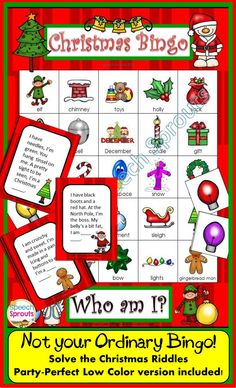 $ Print and go Christmas Party Fun... Bingo Riddles is the perfect educational party activity. Solve the riddles for critical thinking, vocabulary and listening comprehension,.In low color/ grayscale too!