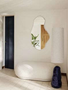Home Interior Living Room Pond Mirror and Hebe Lamp Base by Ferm Living.Home Interior Living Room Pond Mirror and Hebe Lamp Base by Ferm Living Living Room Decor, Decor Room, Bedroom Decor, Bedroom Mirrors, Bedroom Wall, 50s Bedroom, Bedroom Ideas, Master Bedroom, Ikea Bedroom