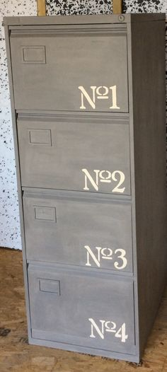 Revamped filing cabinet painted and stencilled in Annie Sloan paint French Linen and Old Ochre