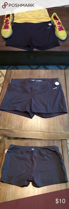 "Avis Captivate Shorts NWOT Dark gray exercise shorts with inner pocket. Moisture wicking fabric is 88% nylon and 12% spandex. 3"" inseam. Smoke free home. Avia Shorts"