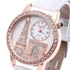 Women'S Quartz Wristwatch White Leather Band Rhinestone White Dial Eiffel Towel