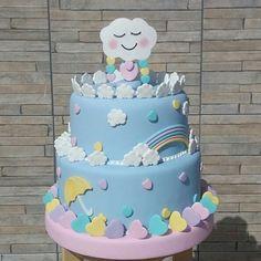 Risultati immagini per chuva de amor Baby Cakes, Baby Shower Cakes, Rain Baby Showers, Stork Baby Showers, Fondant Cakes, Cupcake Cakes, Balloon Cake, Small Cake, Pretty Cakes