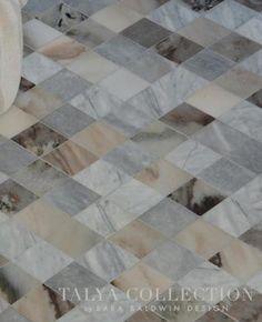 Almas, a stone waterjet mosaic shown in Pallisandra crosscut, Avenza, and Allure honed, is part of the Talya Collection by Sara Baldwin for Marble Systems. Available at Decorative Materials Marble Floor, Tile Floor, Oak Bathroom, Bathroom Ideas, Ravenna Mosaics, New Ravenna, Kitchen Design, Kitchen Ideas, Backsplash Ideas
