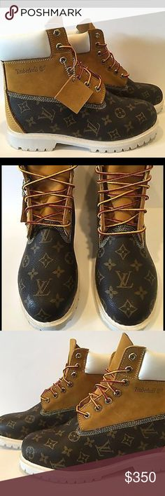 Custom Louis Vuitton Timberland Boots Available in all sizes. Limited supply email me for more pictures and info at chitownkustoms22@gmail.com Louis Vuitton Shoes Boots