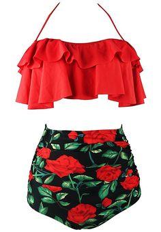 Cocoship Red Rose Floral & Red Retro Boho Flounce Falbala High Waist Bikini Set Chic Swimsuit Bathing Suit M(FBA) 2 Piece Swimsuits, Cute Swimsuits, Women Swimsuits, Bikini Set, Bikini Tops, Bikini Swimsuit, Swimsuit Fabric, Girls Bathing Suits, High Waist