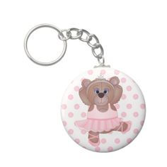 Cute Little Ballerina Cartoon Teddy Bear in Pink Key Chains