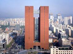 Mario Botta Kyobo Tower Seoul, South Korea Kyobo Tower in Seoul, South Korea Tower Building, Brick Building, Building Design, Indian Architecture, Futuristic Architecture, Amazing Architecture, Interesting Buildings, Amazing Buildings, Genius Loci