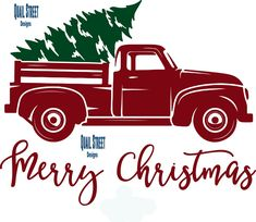 Vintage Red Truck With Christmas Tree - Vinyl Decal – Quail Street Designs Christmas Tree Vinyl, Dollar Store Christmas, Burlap Christmas, Christmas Door, Christmas Balls, White Christmas, Vintage Christmas, Christmas Time, Christmas Wreaths